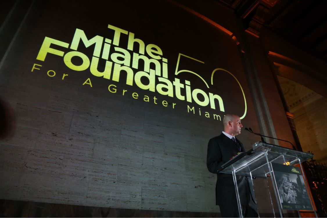 Foundation President and CEO Javier Alberto Soto addresses the audience at Foundation's 50th Anniversary celebration on January 27, 2017.