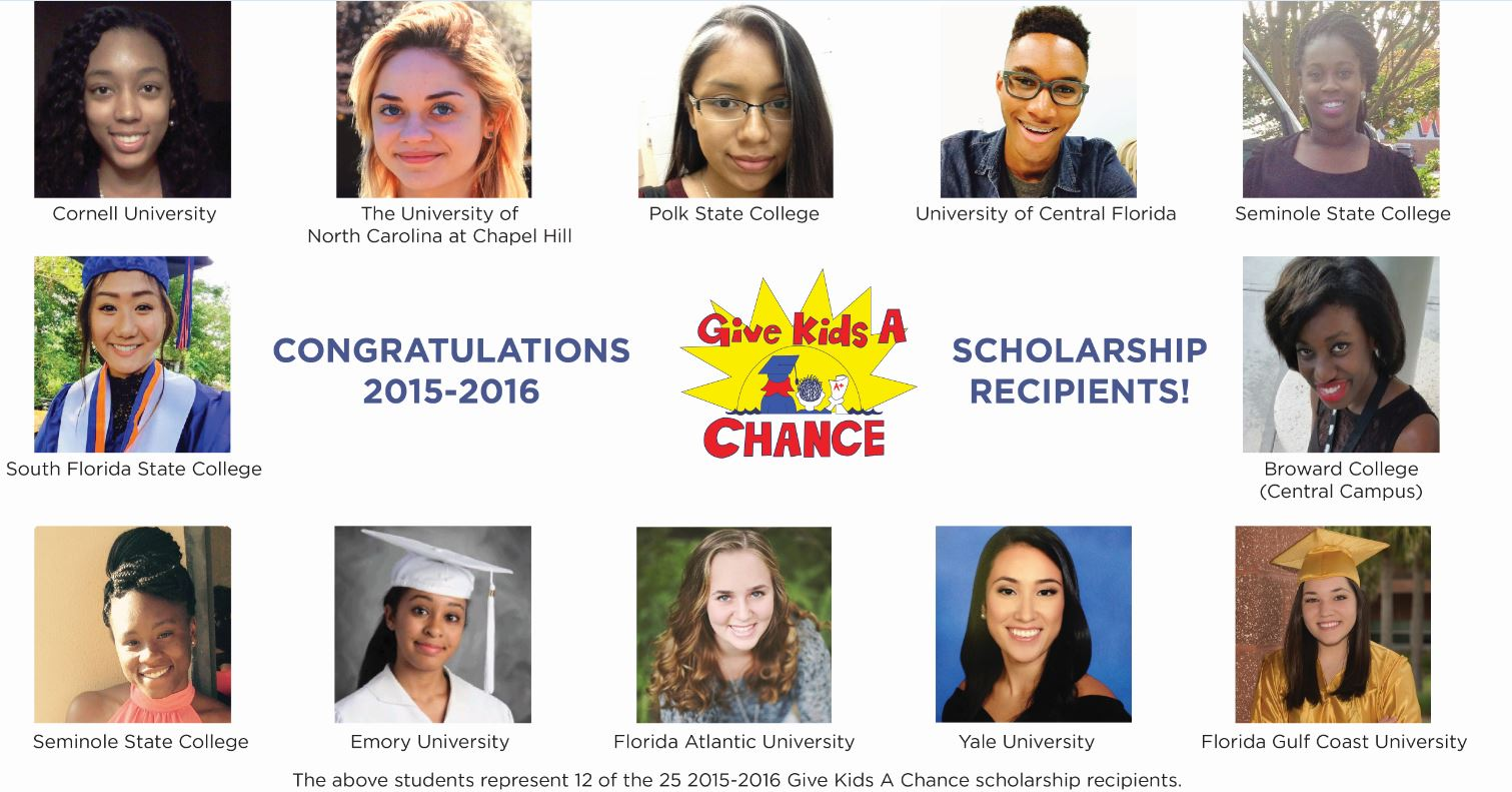 Pictured above: Give Kids a Chance's 2015-2016 scholarship recipients.