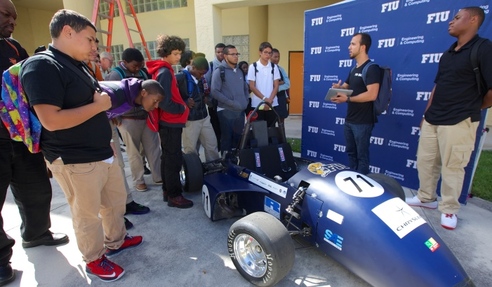 Students at Florida International University present a project they created during a STEM-based course at the university.