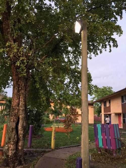 Pictured above: a light in the Annie Coleman public housing units. As part of a 2017 Public Space Challenge winning project, local residents will now have local pathways lit.