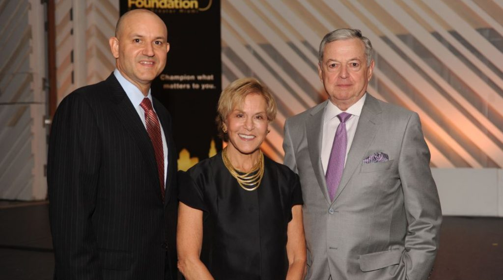 Foundation President and CEO Javier Alberto Soto with Dr. Judith Rodin and Armando Codina, who gave Dr. Rodin's introduction at The Miami Foundation's Resiliency Event on Oct. 16th at New World Center.