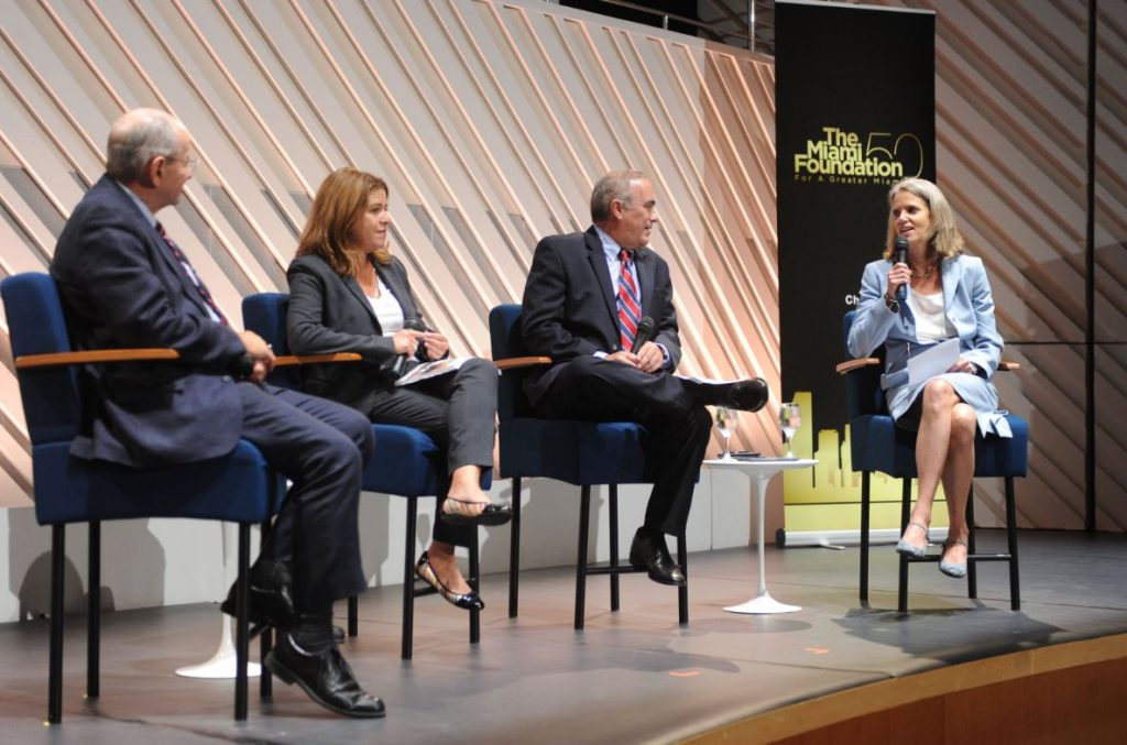 Pictured above: Jim Murley, chief resilience officer, Miami-Dade County; Susanne Torriente, chief resilience officer, city of Miami Beach; Roman Gastesi, county administrator, Monroe County and Jane Gilbert, chief resilience officer, city of Miami speak on a panel at The Miami Foundation Resiliency Event on Oct. 16th.