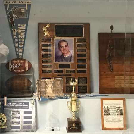 Pictured above: a plaque at Palmetto High School honoring Alan Epstein.