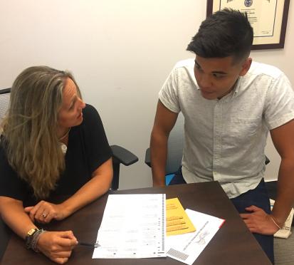 Dawn Shirreffs and Jordan De Leon discuss election ballott